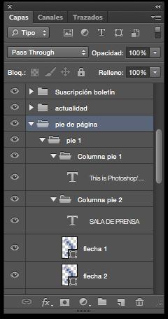 El orden es fundamental para trabajar un diseño web con capas en Photoshop