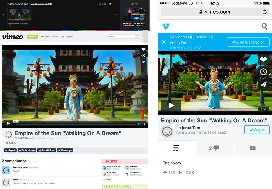 Comparación entre la versión de escritorio de Vimeo (izquierda) y la versión móvil (derecha)