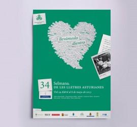 Diseño de cartel de la 34 Selmana de les lletres asturianes 2013