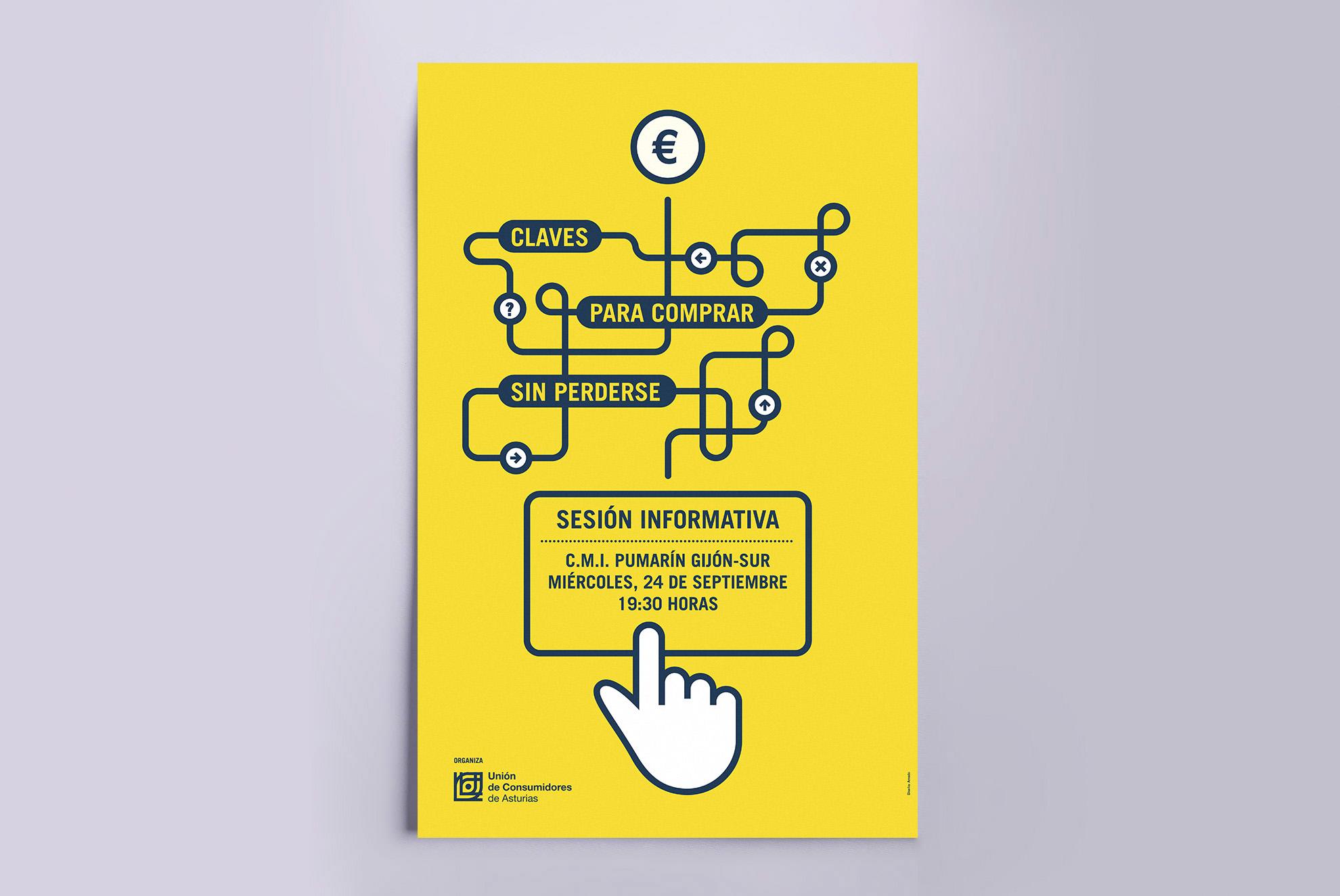 Diseño de cartel para sesiones informativas sobre compras realizadas por Internet.