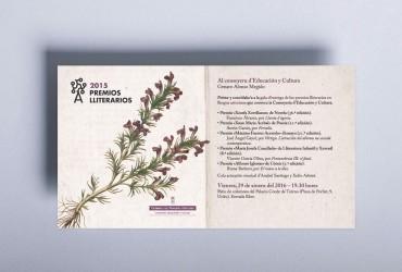 Diseño de invitaciones para la Gala de los Premios Lliterarios 2015