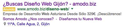 Anuncio en AdWords para Diseño Web Gijón