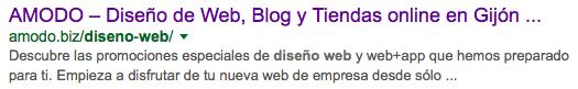 Resultado en Google para Diseño Web Gijón