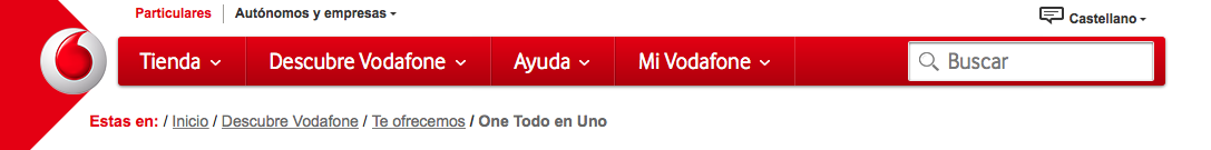 Breadcrum en la web de Vodafone