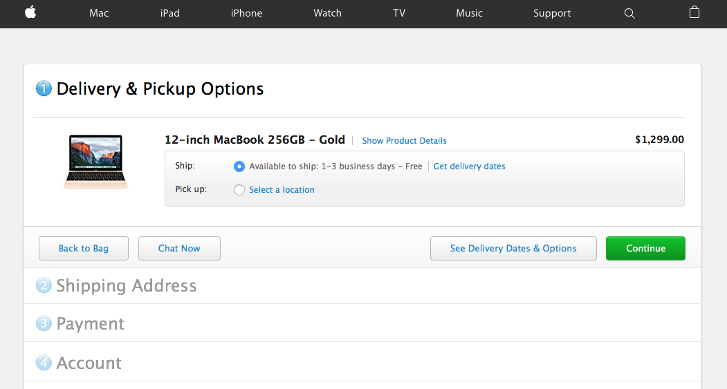 Proceso de compra en la web de Apple